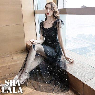 SHA LA LA 莎菈菈 韓版維多利亞氣質V領露肩吊帶修身網紗連衣裙長洋裝(S~XL)2019031511預購款