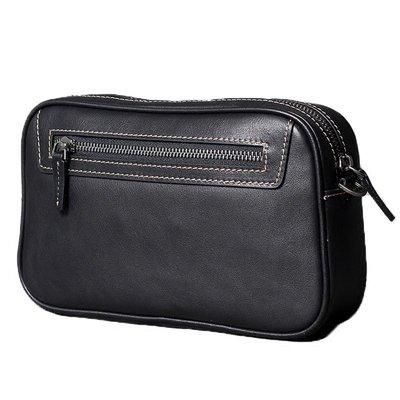 手拿包真皮錢包-黑色植鞣牛皮休閒男包包73vp28[獨家進口][米蘭精品]