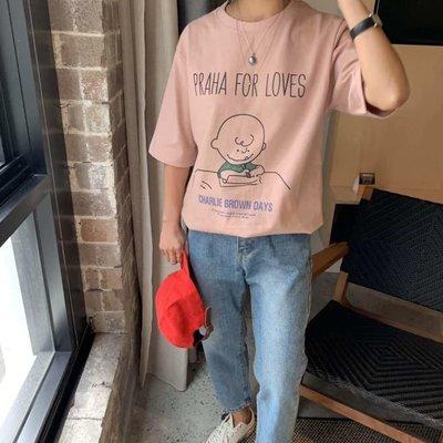 美麗喵。現貨 粉。正韓 韓國製 PRAHA FORS LOVES 查理 短袖棉質T恤上衣(