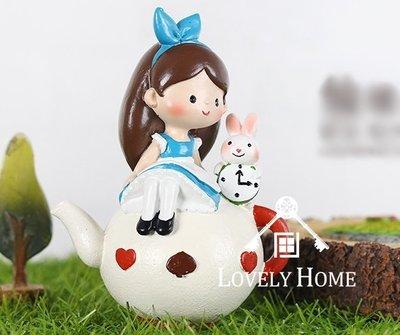 (台中 可愛小舖)可愛田園鄉村風格可愛女孩兔子坐在茶壺上波麗娃娃擺飾裝飾收藏可愛童話風格店家民宿居家自家房間客廳擺飾