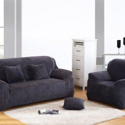 【冬法蘭絨2人座彈性沙發套】雙人沙發套沙發墊沙發巾沙發布床墊保潔墊沙發彈簧床折疊沙發 [灰色]