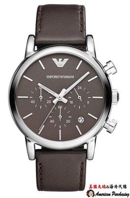 美國大媽代購 EMPORIO ARMANI 亞曼尼手錶 AR1734 小牛皮真皮錶帶 三眼計時腕錶 手錶  歐美代購