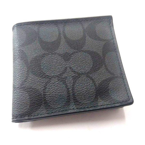 COACH 短夾 皮夾 全新 瑕疵特價 鐵灰黑C Logo PVC 75006真皮內裡四卡零錢袋
