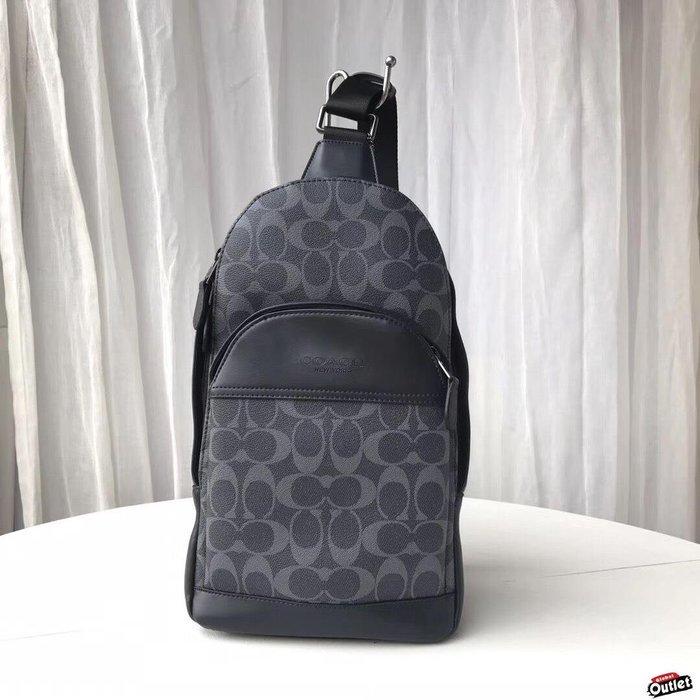 【全球購.COM】COACH 寇馳 39942 新款前置口袋 logo黑灰色胸包 男士側背包 斜背包1 美國代購