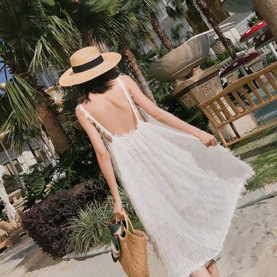 【Strawberry】白色海邊度假沙灘裙仙性感大露背連衣裙羽毛流蘇吊帶裙心機禮服裙