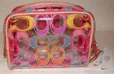 【美國精品館】COACH 49309 SCRIBBLE COSMETIC CASE (粉彩) PVC 皮革化裝包/彩粧包/萬用包~