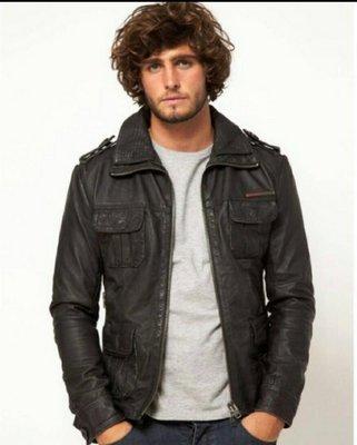 國外帶回全新正品Superdry Brad Leather 真皮貝克漢款軍肩皮衣L(Brown棕色)