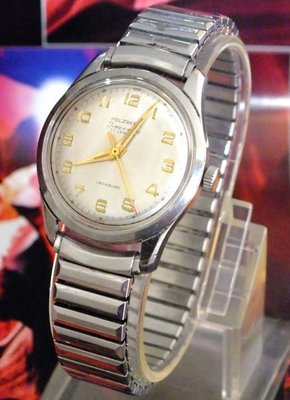 百年鑽石珠寶品牌 Helzberg, 瑞士製 Time-O-Matic 男裝自動古董錶 1957年