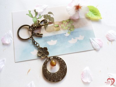 ♥STORY SAYS♥【圓】手創 客製 天然瑪瑙古銅鑰匙圈(附禮物包裝) 吊飾 禮物 生日 閨蜜 朋友 手作