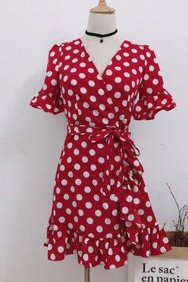 夏季法式復古紅色波點連身裙V領綁帶度假短裙女巴厘島沙灘裙