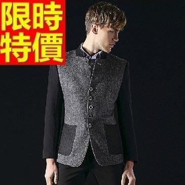 中山裝 唐裝 男外套-休閒羊毛中國風男西裝外套65e44[獨家進口][米蘭精品]
