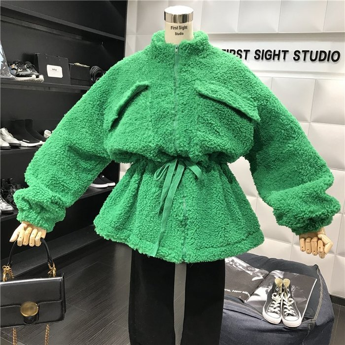 薄外套 外套 衛衣 開衫外套 毛衣秋冬新款時尚純色立領收腰中長款百搭氣質寬松羊羔毛拉鏈外套
