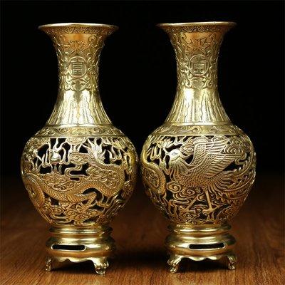 【睿智精品】佛教用品 佛堂供花 龍鳳花瓶 銅製龍鳳花瓶一對(GA-3623)