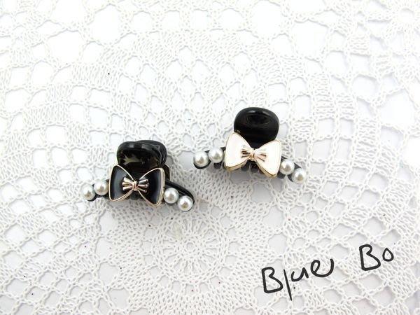 ~*BlueBo*~Korea 韓國飾品 可愛珍珠蝴蝶結小鯊魚夾/超小抓夾~2.8cm