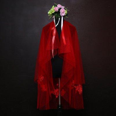 wuli西子的店--新款雙層貼花新娘頭紗女紅色香檳色韓式旅拍婚紗配飾森系頭飾超仙