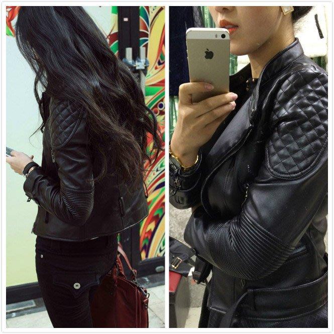 【客人實穿】韓-新款短版修身加厚加絨皮衣〝回頭率破錶〞***