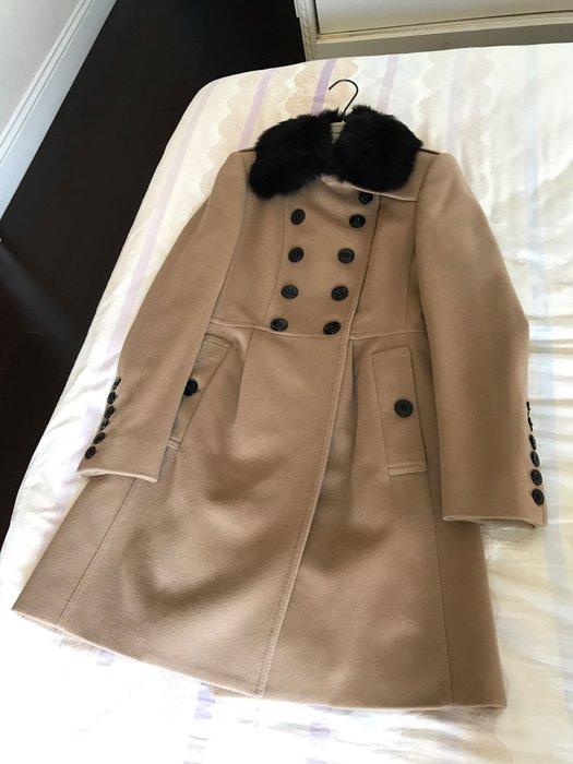 BURBERRY LONDON 經典毛料長大衣 台灣專櫃 駝色 超顯瘦款 洋裝式大衣 2015款 毛領