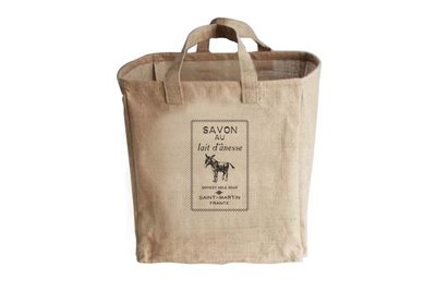 【Qmoment】Fillintheblank法式麻織中型購物袋GroceryBags / DONKEY MILK