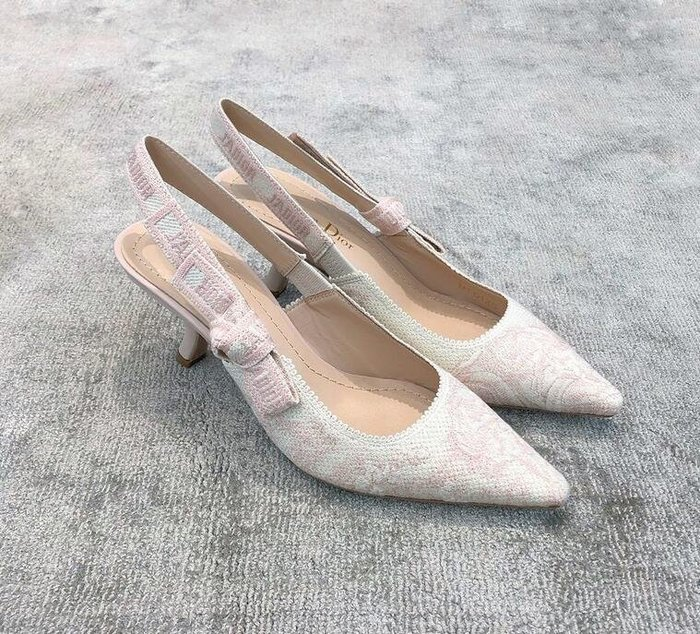 2020夏季D家 蝴蝶結高跟鞋刺繡字母貓跟鞋尖頭細跟仙女風女鞋