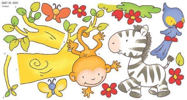 【皮蛋媽的私房貨】韓國壁貼&壁紙*室內設計/裝飾*卡通款!淘氣小猴+斑馬