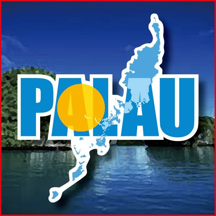 【國旗貼紙專賣店】帛琉國旗地圖抗UV、防水行李箱貼紙/Palau/多國款可訂製
