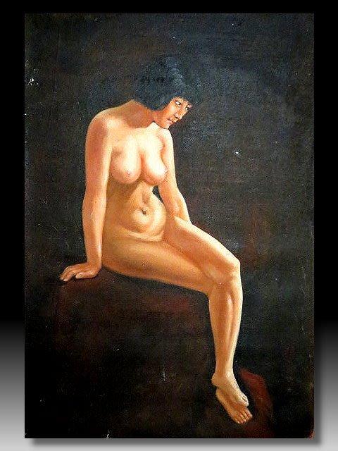【 金王記拍寶網 】U1211  中國近代油畫名家 徐悲鴻款 手繪油畫原作 油畫一張 罕見 稀少 藝術無價~