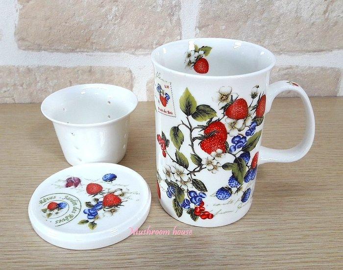 點點蘑菇屋 義大利Easy Life莓果系列三件式濾網杯組 杯子+杯蓋+濾網 馬克杯 現貨