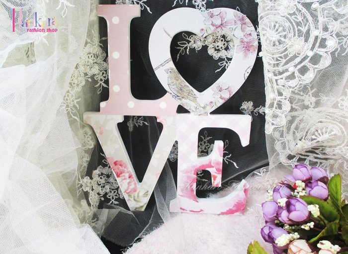 ☆[Hankaro]☆ 歐美古典浪漫木質LOVE文字掛飾