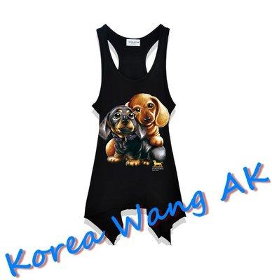 Korea Wang AK ~(預購)台灣原創獨家設計 美國100%純棉 限定版 麻吉臘腸狗長版背心 三款【P043】