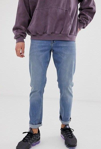 ◎美國代買◎ASOS反摺褲口淺藍刷色復古英倫時尚街風反摺褲口淺藍刷色九分牛仔褲~歐美街風~大尺碼