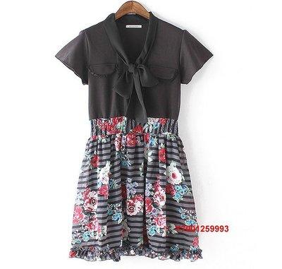 【Mi Ni】日本  axes  領口繫帶  水彩花朵印花  收腰   連衣裙 洋裝
