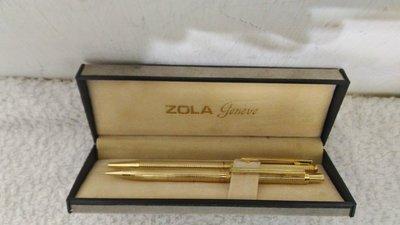 全新~  台灣製 ZORA geneve 收藏超過50年以上  一對 金  筆 ( 原子筆 + 鉛筆 )
