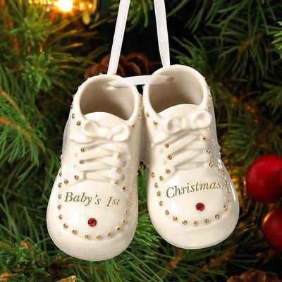 千禧禧居~Lenox 寶貝圣誕節小鞋 鞋子陶瓷圣誕樹裝飾吊飾掛飾掛件圣誕禮物