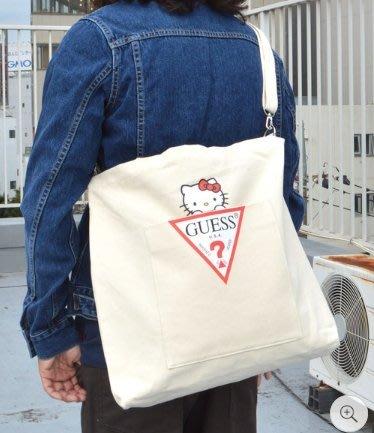 XinmOOn GUESS x Hello Kitty LOGO TOTE BAG 聯名 托特包 帆布包 機能 側背包
