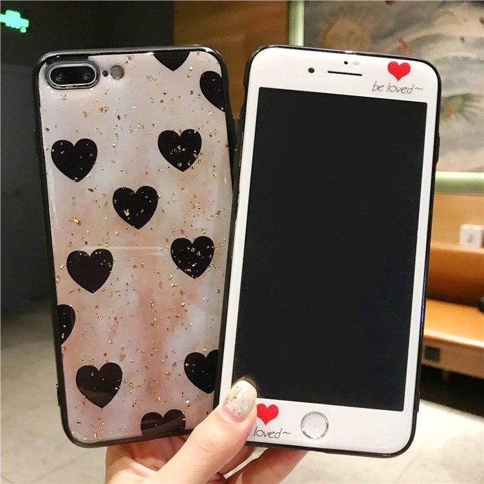 千夢貨鋪-愛心蘋果7plus鋼化膜8p前彩膜iPhone6s全屏xsmax全包套裝xr手機殼