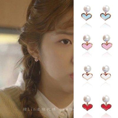 【韓Lin代購】韓國 GET ME BLIN- 明星同款抗敏銀珍珠愛心耳環 LOVELY_PEARL
