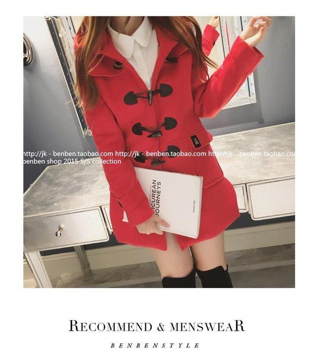 ☆Candy Box☆秋冬新款雙排扣連帽長款毛呢外套 紅(L) Z1812656