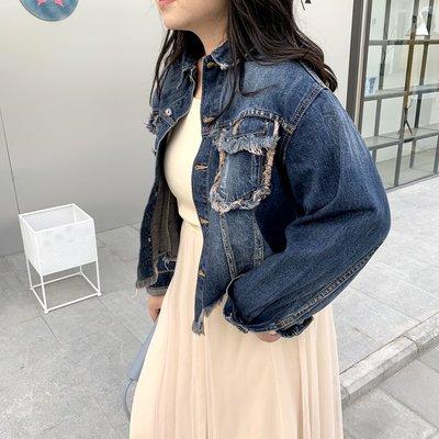 文斯斯 羅拉家大碼女裝回歸款2019春新短款流蘇個性時尚深藍洗水牛仔外套