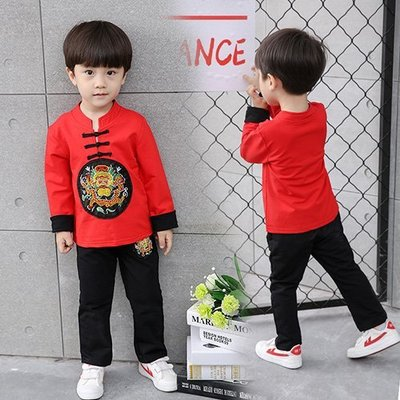 現貨 男童 中國刺繡龍紋過年套裝18MM030105