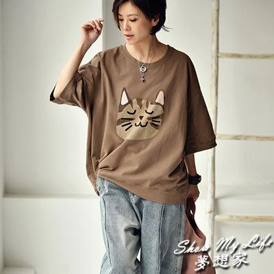 純棉T恤女 小貓印花印花T恤 圓領短袖上衣-T7306C-0414