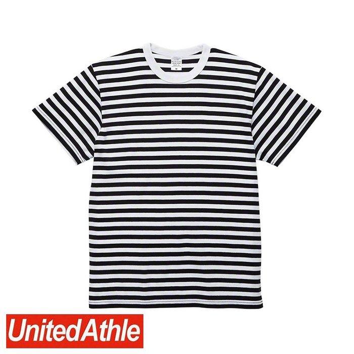 DIBO 免運~United Athle 男生 女生 日本UA 頂級柔棉 圓領短袖 條紋 T恤 5625-白/黑-細橫條