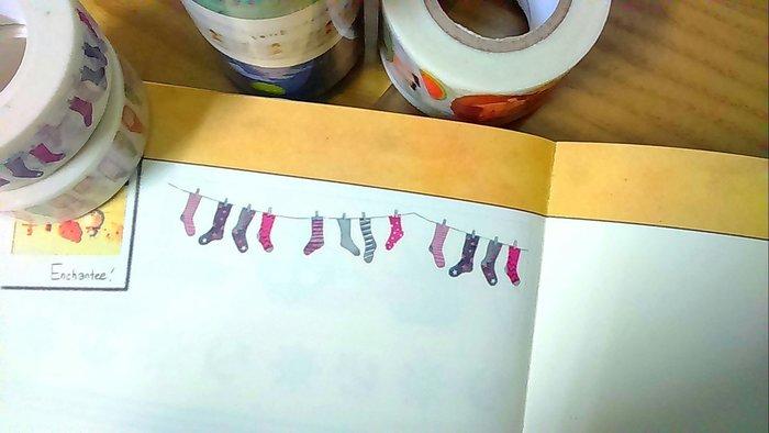 【R的雜貨舖】紙膠帶分裝 天氣晴朗高掛襪 曬襪子