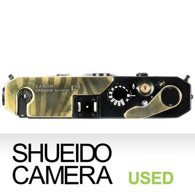 集英堂写真機【3個月保固】中古良上品 / CANON P 旁軸 底片相機 平光黑 / 斑馬刻紋局部銅拋光 21244
