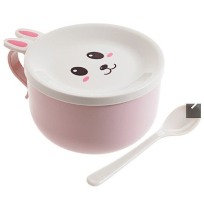 朵拉媽咪【全新 現貨 馬上出】萌兔 不銹鋼泡麵碗 泡麵碗 卡通餐具 帶蓋湯碗 大麵碗 不鏽鋼碗 大號碗 湯碗附蓋 麵碗