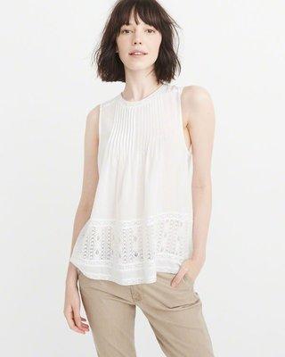 Maple麋鹿小舖Abercrombie&Fitch * A&F  白色蕾絲摺痕設計無袖上衣  *( 現貨M號 )