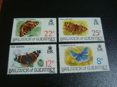 【大三元】F11各國蝴蝶專題系列-歐洲郵票-根西-新票四全1套