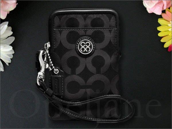 COACH 60890 黑色織布手拿包萬用包有多卡片夾層可放手機 免運費 iCoachBag