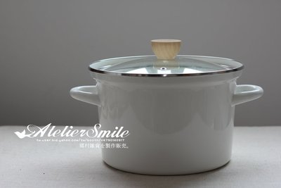 [ Atelier Smile ] 鄉村雜貨 日本  搪瓷 琺瑯 雙柄湯鍋 電磁爐可用 24CM 深型雙柄 (現+預)