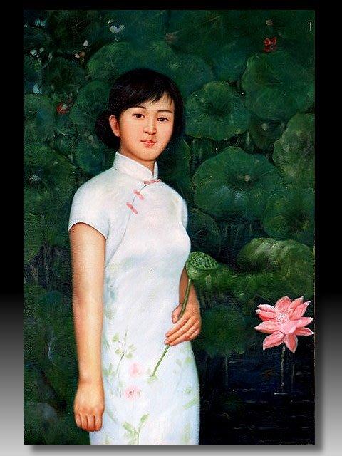 【 金王記拍寶網 】U1140  中國近代油畫名家 陳逸飛款 手繪油畫一張 美人圖~ 罕見稀少 藝術無價~