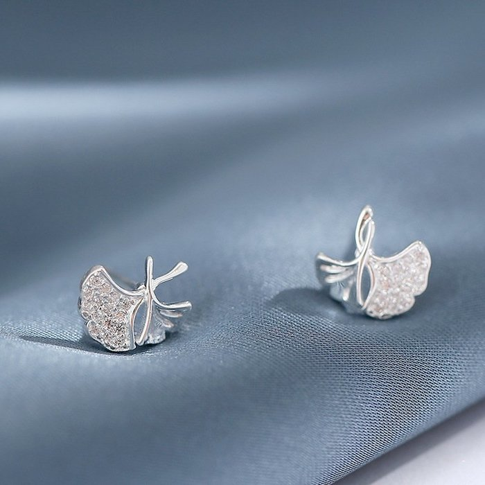 輕巧 鑲鑽 扇形 葉子 造型 簡約 氣質 耳釘 耳環 【SE884】